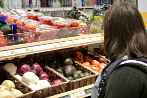 Megan shopping for ingredients.
